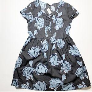 Gap Blue Gray Floral Knee Length Dress